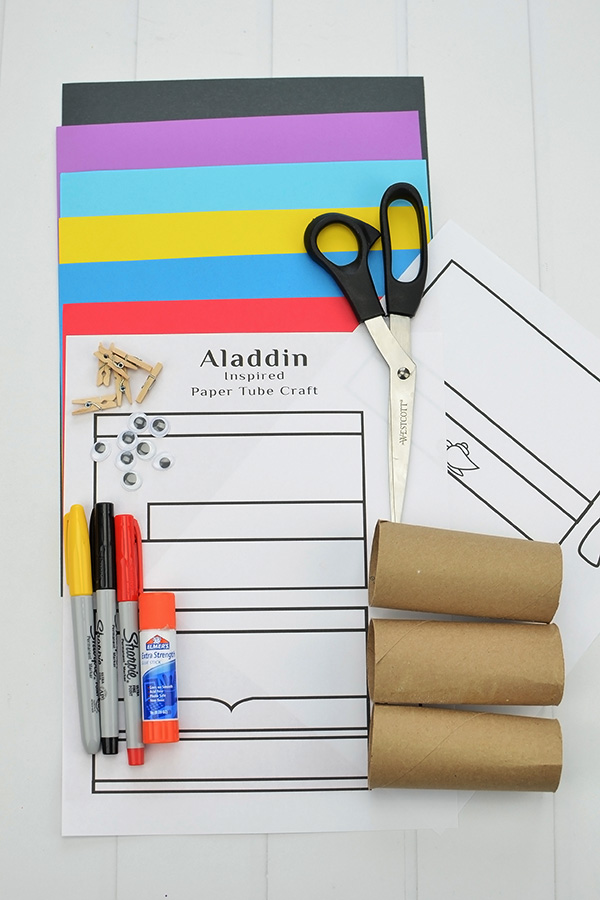 printable Aladdin character templates, construction paper, googly eyes, glue, & scissors