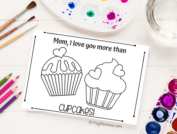 Free cupcake card template kids can color, paint, or decorate any way they choose!