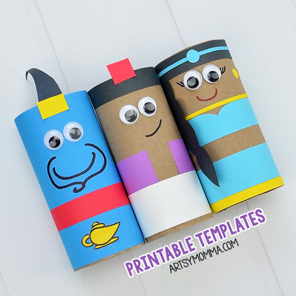 graphic relating to Printable Crafts for Kids named Printable Aladdin Crafts Towards Cardboard Tubes - Artsy Momma