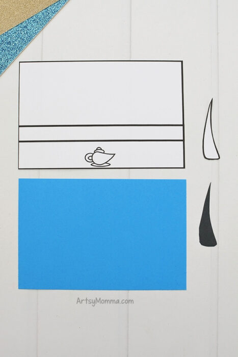 Printed Genie Template with blue paper