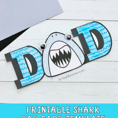 Paper shark card template for Father's Day