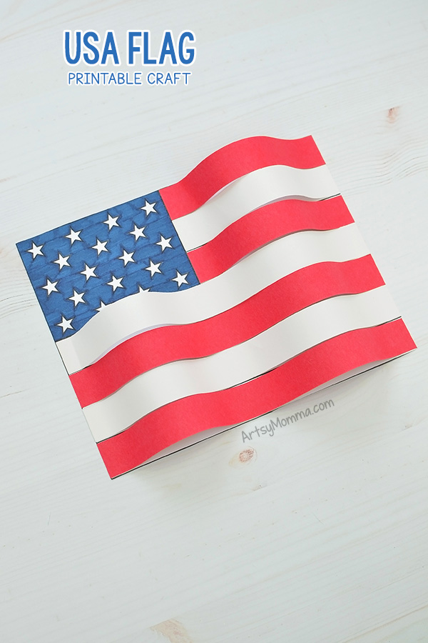 image relating to Printable Usa Flag identify Printable American Flag Craft Challenge - Very simple 3D Paper Artwork