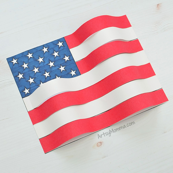 Simple American Flag Template & Waving 3D Paper Flag Craft