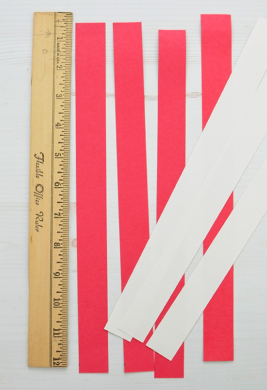 Cut Red & White Paper Stripes for flag