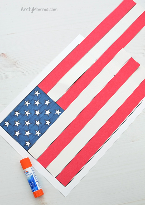 picture relating to Printable Usa Flag identify Printable American Flag Craft Job - Uncomplicated 3D Paper Artwork