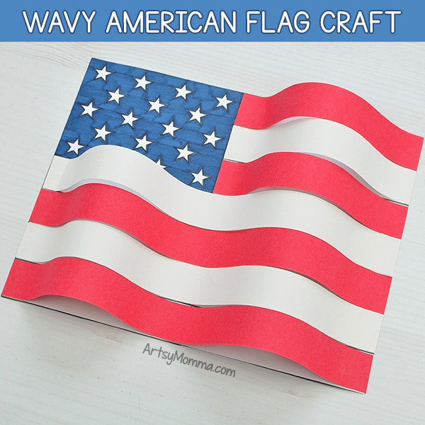American Flag Craft Project with a wavy 3D paper effect