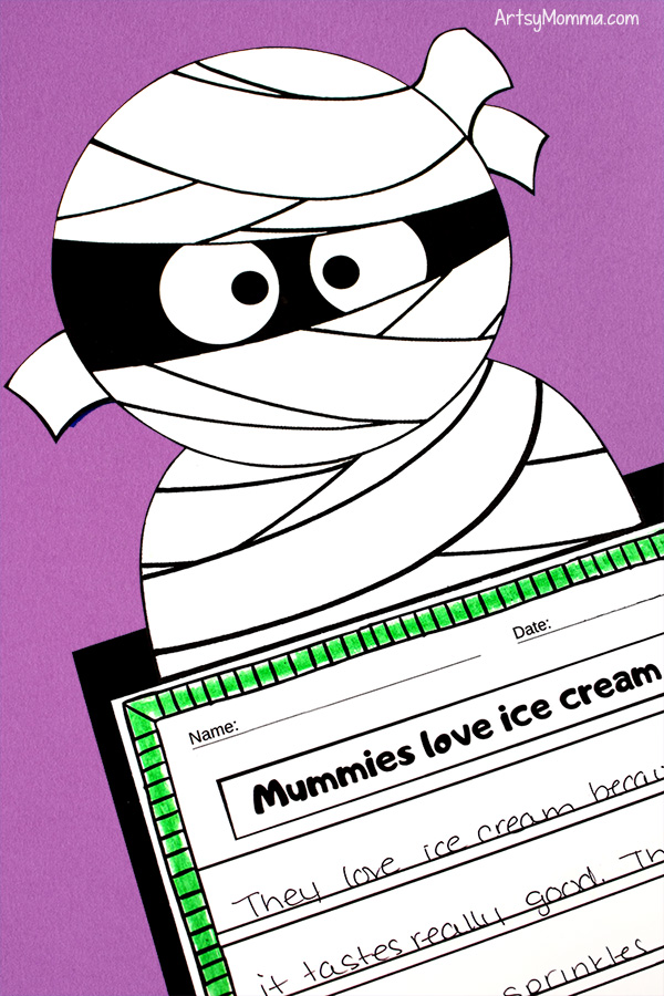 Printable Paper Mummy Craft and Writing Activity