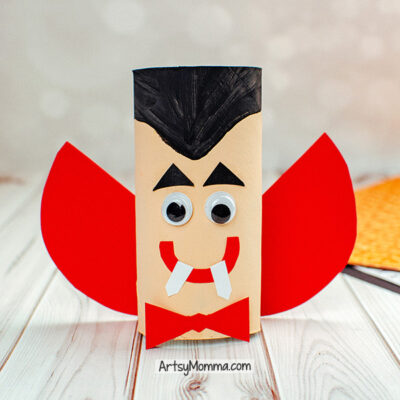 Recycled Cardboard Tube Vampire or Dracula Craft Idea for Kids