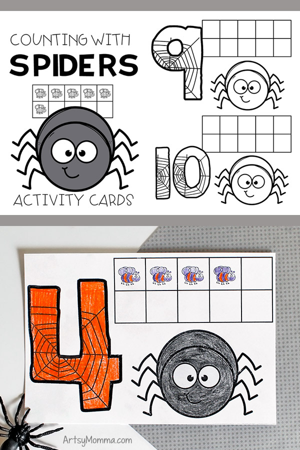 Counting with Spiders Ten Frames Printable Math Activity