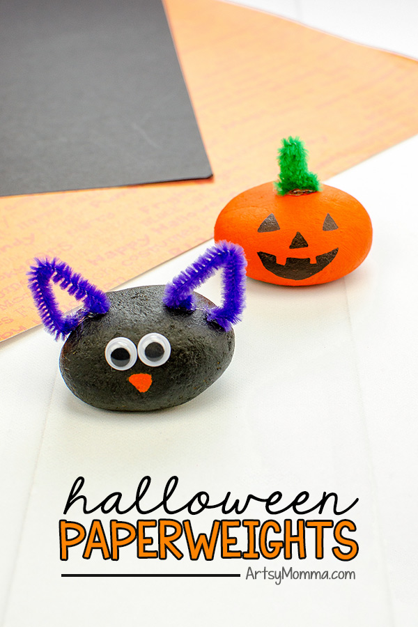 Painted Rock Pumpkin and Black Cat Paperweight Crafts made using rocks