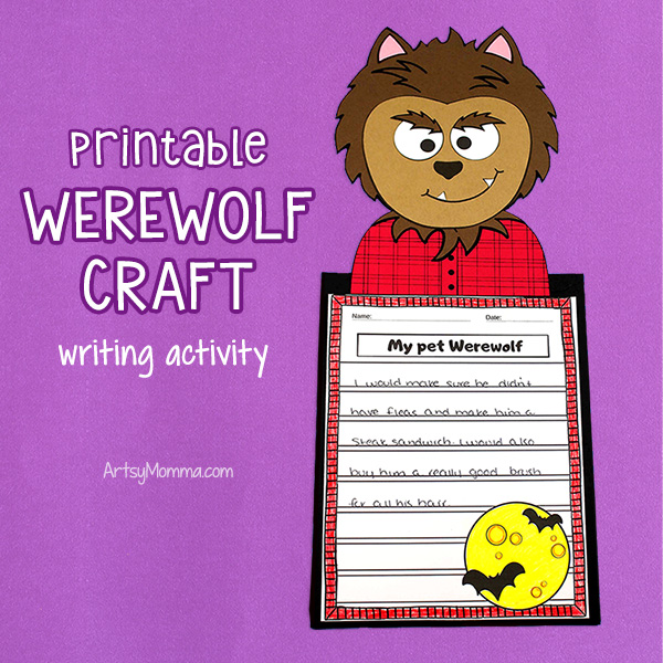 Printable Werewolf Craft with Halloween Writing Prompt