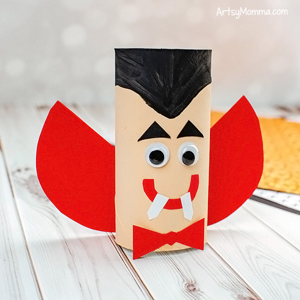 Kids Dracula Cardboard Tube Craft with paper cape