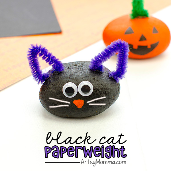 Black Cat Rock Paperweight Craft Idea with pipe cleaner ears