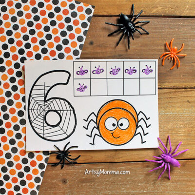 Printable Halloween Ten Frames - Count how many flies the spider ate
