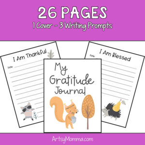 Printable Gratitude Journal for Kids with cute woodland animal designs