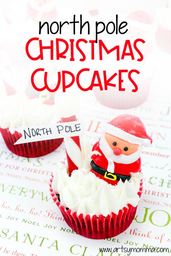 Santa Christmas cupcakes pinterest image