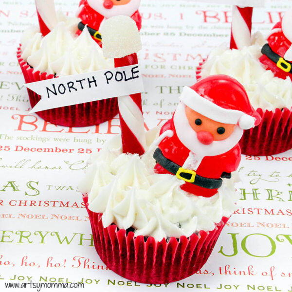 North Pole Santa Christmas Cupcakes