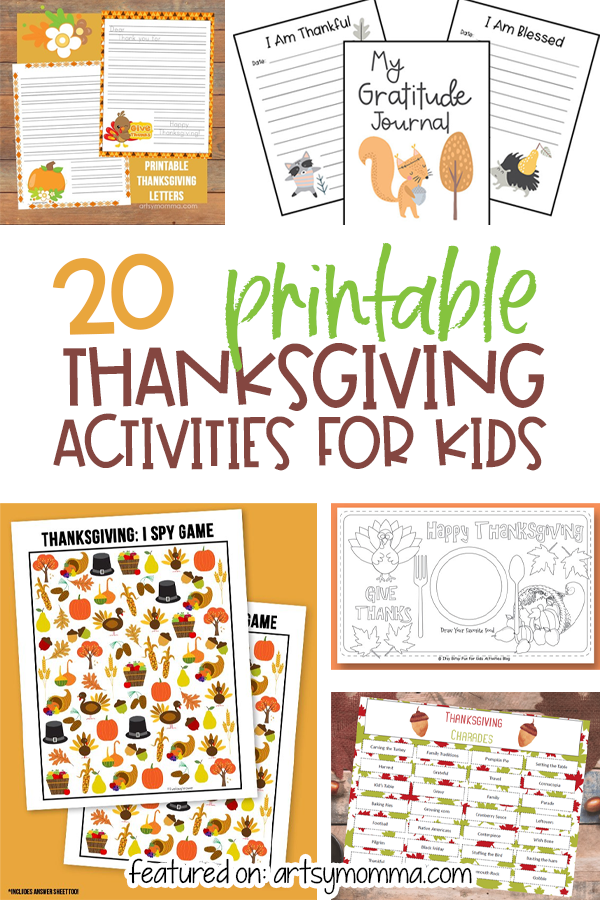 20 Printable Kids Activities for Thanksgiving