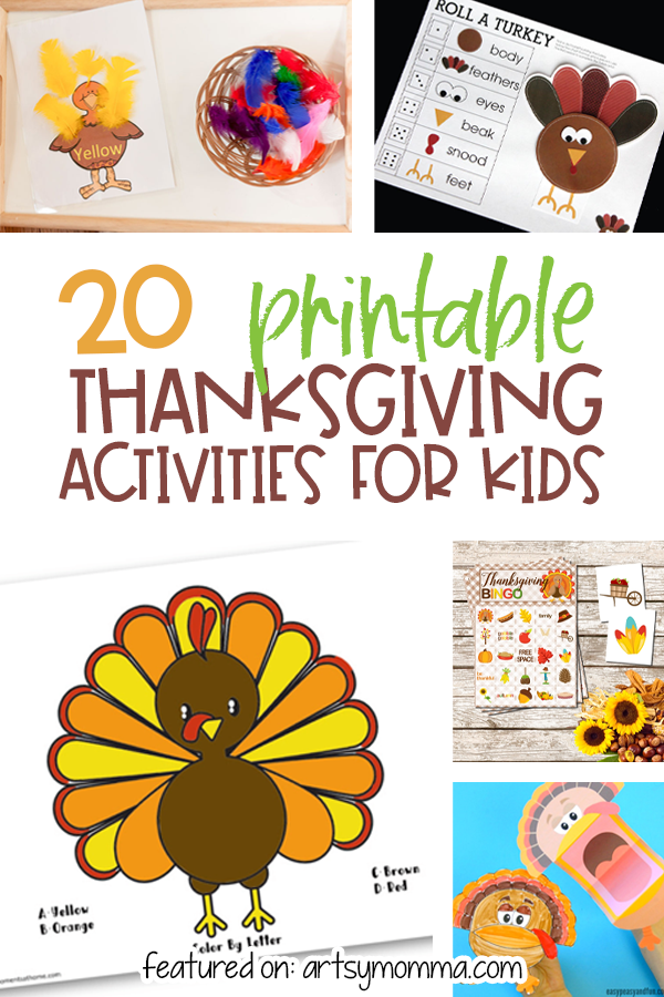 20 Thanksgiving Printables for Kids