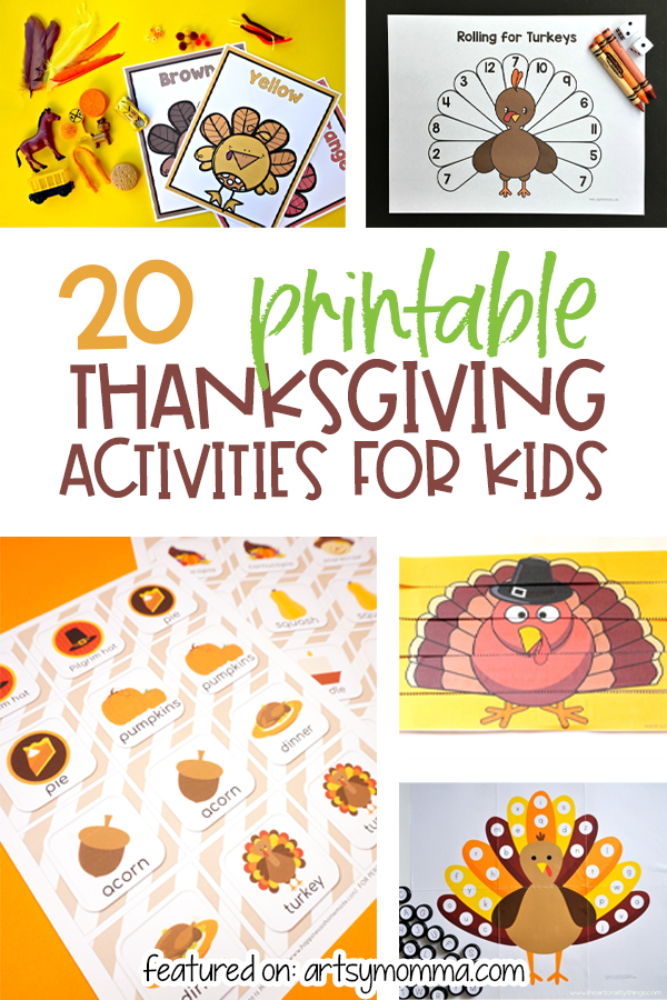 20 Printable Activities for kids to do for Thanksgiving