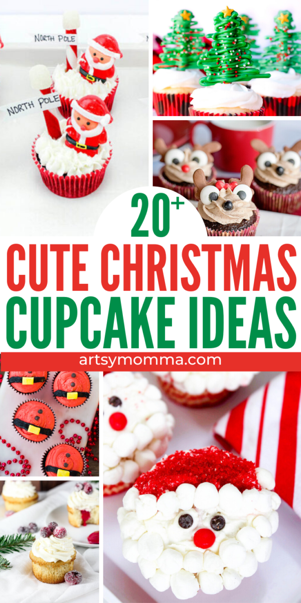 Collage of Cute Christmas Cupcake Ideas