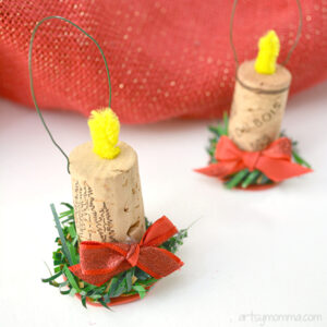 DIY Candle Shaped Ornaments from wine corks