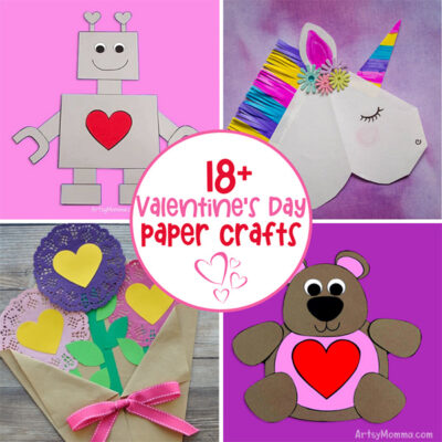 Paper Valentine Robot, Heart Shaped Unicorn, Paper Bouquet of Flowers, Paper Teddy Bear Crafts