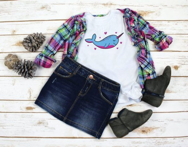 Girls Narwhal Shirt