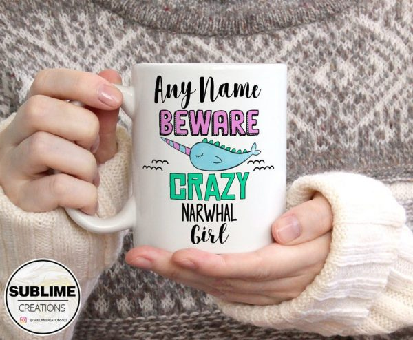 Personalised Beware Crazy Narwhal Girl Mug