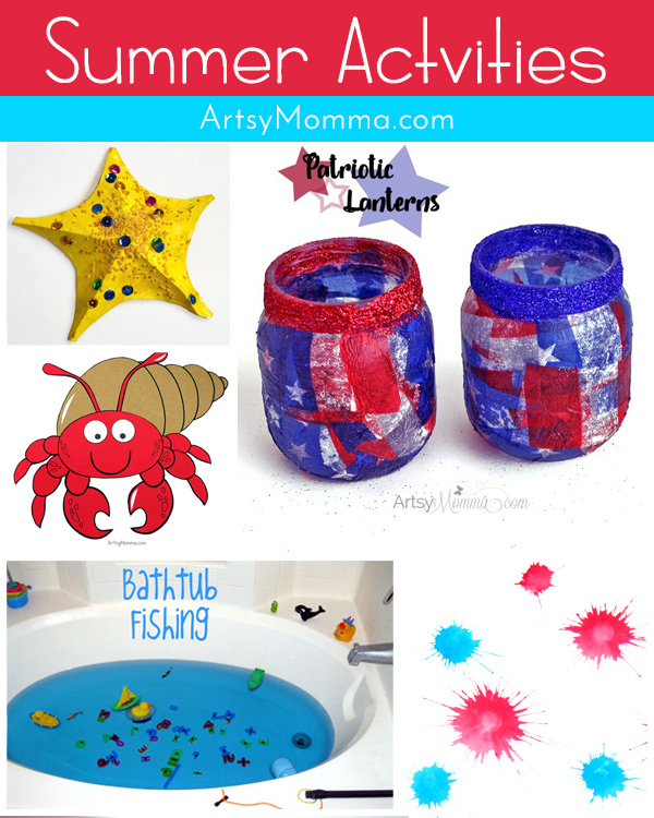 Collage of Kids Crafts and Activities for Summer