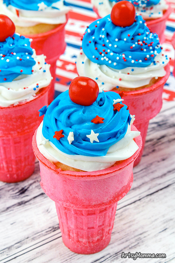 Patriotic Cupcakes in an ice cream cone