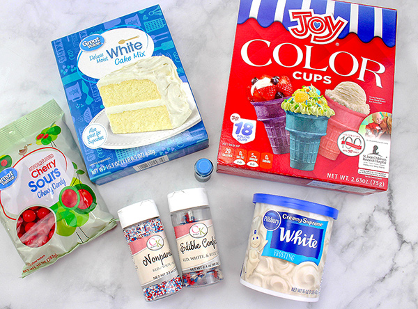 Ingredients for making cone cupcakes