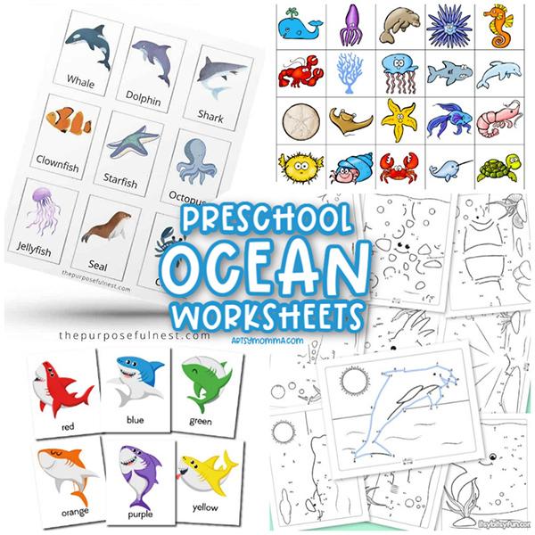 Under the Sea Themed Preschool Worksheets