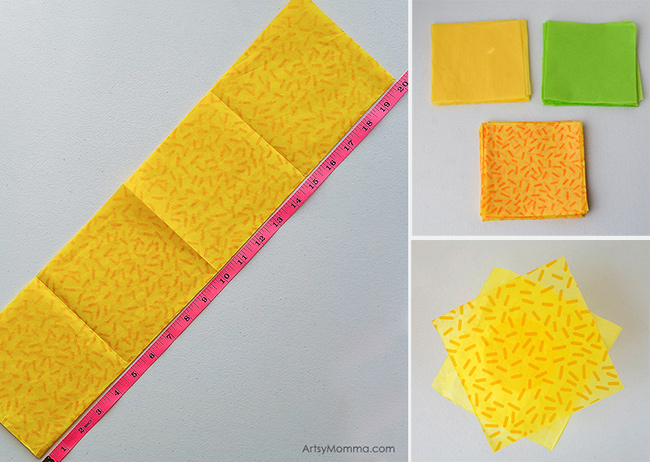 Cut Pineapple Tissue Paper Squares