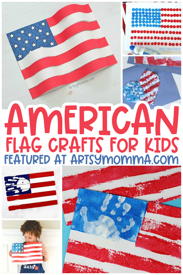 Collage of USA Flag Crafts for Kids