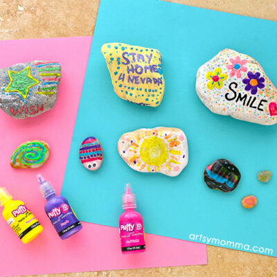 Rocks decorated with neon puffy paint