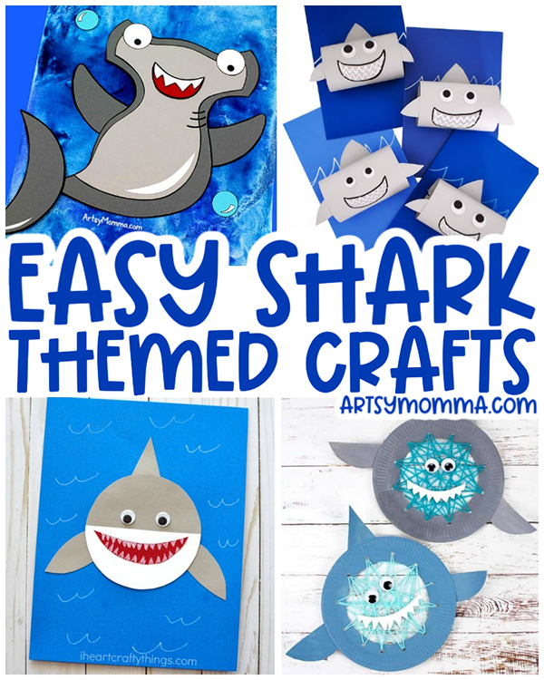 Collage of Shark Crafts for Kids