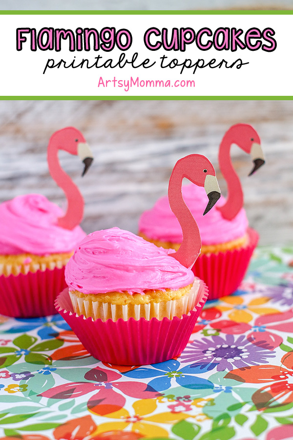 Pink Flamingo Cupcakes with printed flamingo head toppers