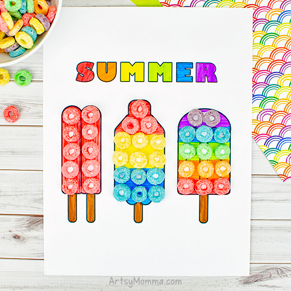Colorful Popsicle Art Project Using Fruit Loops