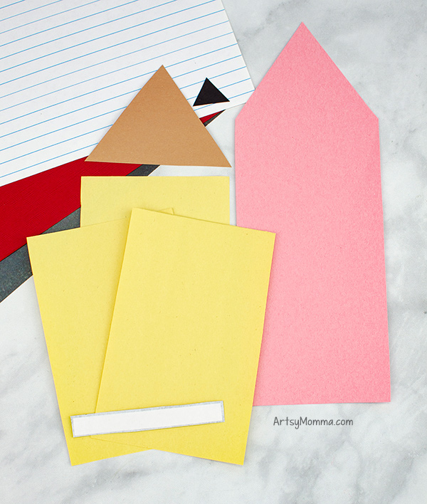 Pencil Shaped Paper Cut-Outs: Pink, Yellowe, Tan, Black, White