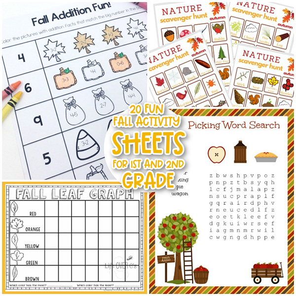 Printable Autumn Worksheets for 1st and 2nd Graders