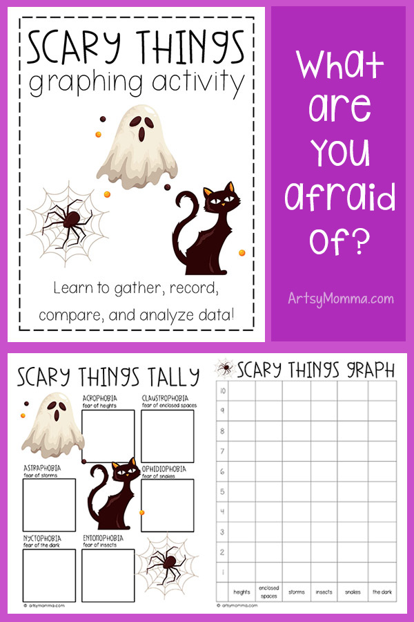 printable halloween bar graph & phobia voting sheet