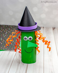 Halloween Witch made from cardboard tube