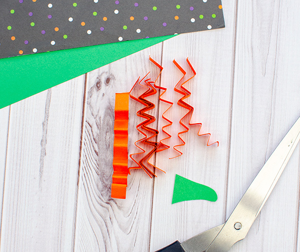 Crinkled Orange Paper Strips for Witch Hair