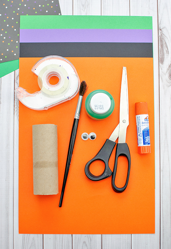 Construction Paper, Scissors, Cardboard Tube, Googly Eyes for Witch