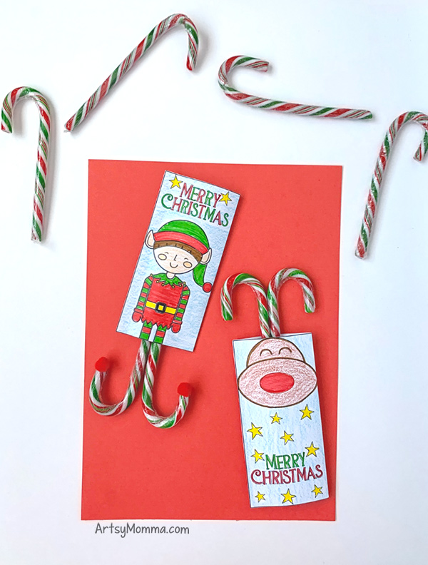 Cute Candy Cane Holders to Print & Color