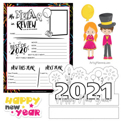 Printable New Year's Headband & Year in Review Writing Activity