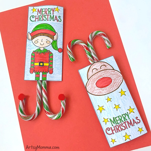 Fun Candy Cane Party Favor Gifts to Print and Color