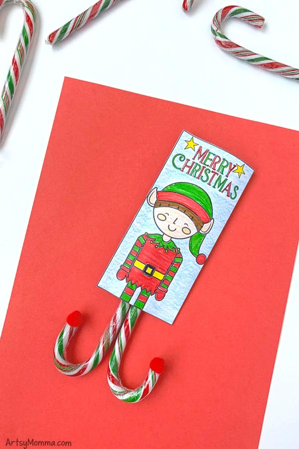 Printable Elf Candy Cane Holder Idea