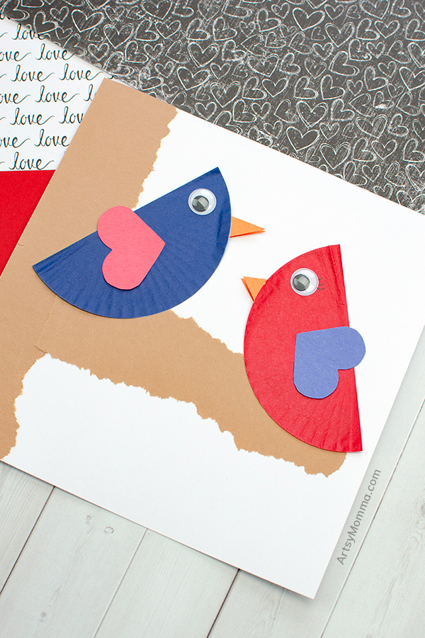 Bird Craft for Valentine's Day using cupcake wrappers